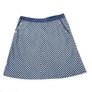 Jones New York Nautical A Line Skirt Blue White 14